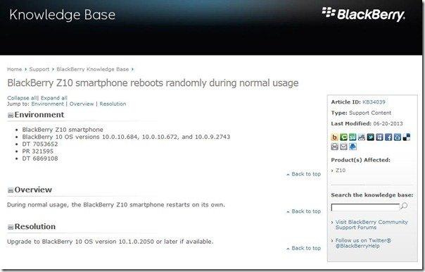 Cập nhật BlackBerry 10.1 OS sẽ khắc phục lỗi tự reboot trên BlackBerry Z10